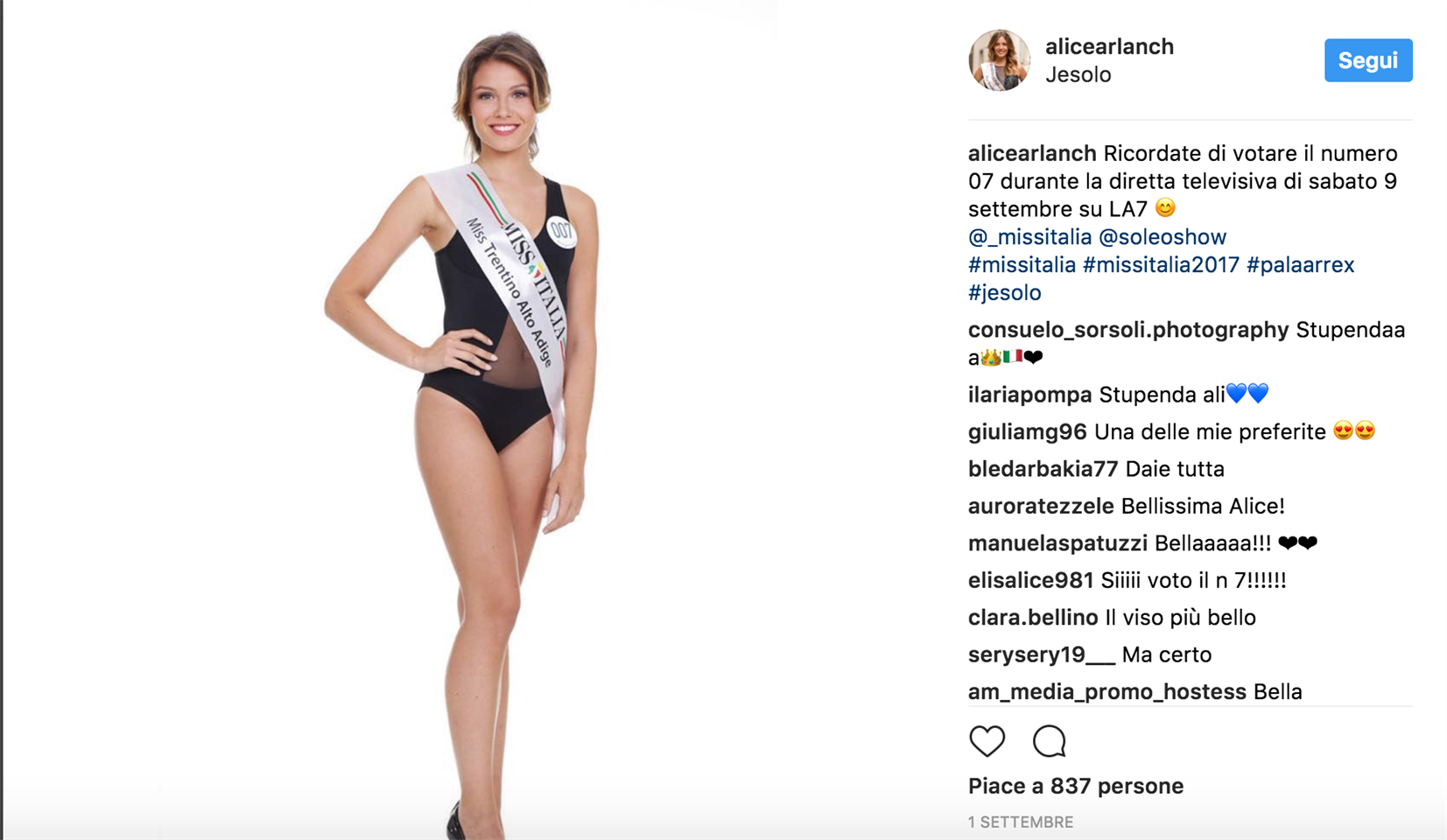 Chi è Miss Italia 2017? La storia di Alice Rachele Arlanch