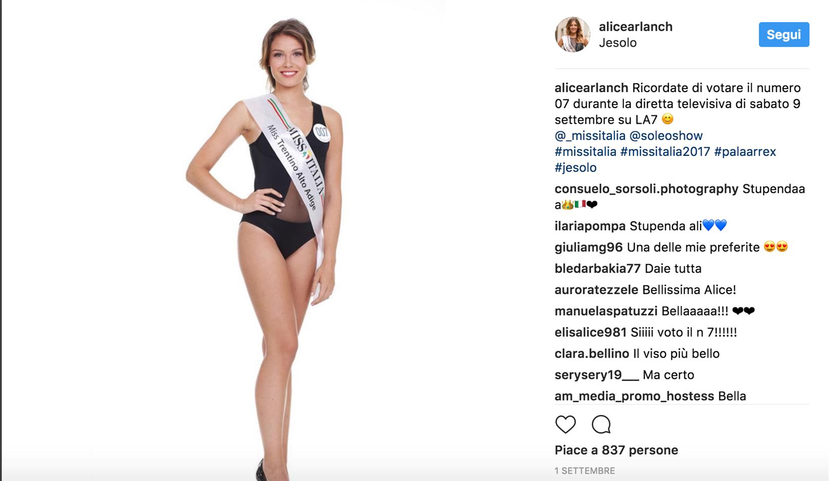 Miss Italia 2017 è Alice Rachele Arlanch