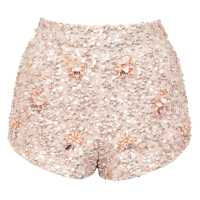 Shorts in paillettes con fiori ricamati