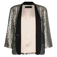 Blazer in paillettes con revers in raso