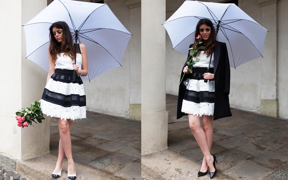Vestito rinascimento bianco e nero