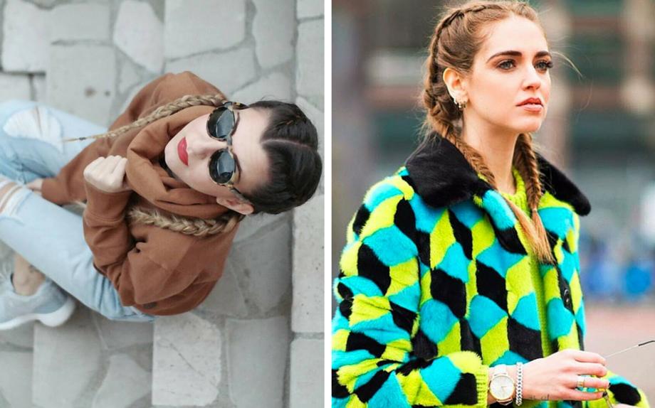 da sin. la fashion blogger Sabrina Musco e Chiara Ferragni con le boxer braids