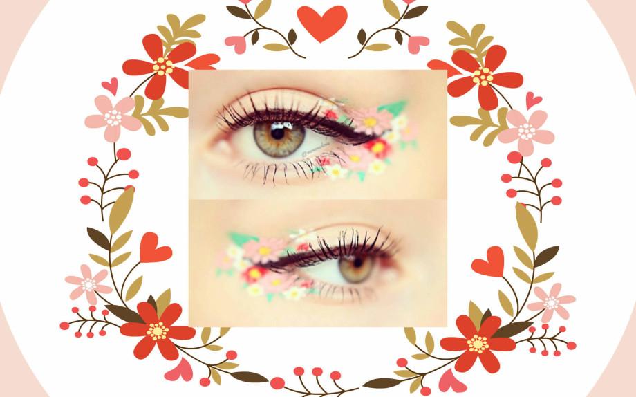 trucco per eyeliner a fiori