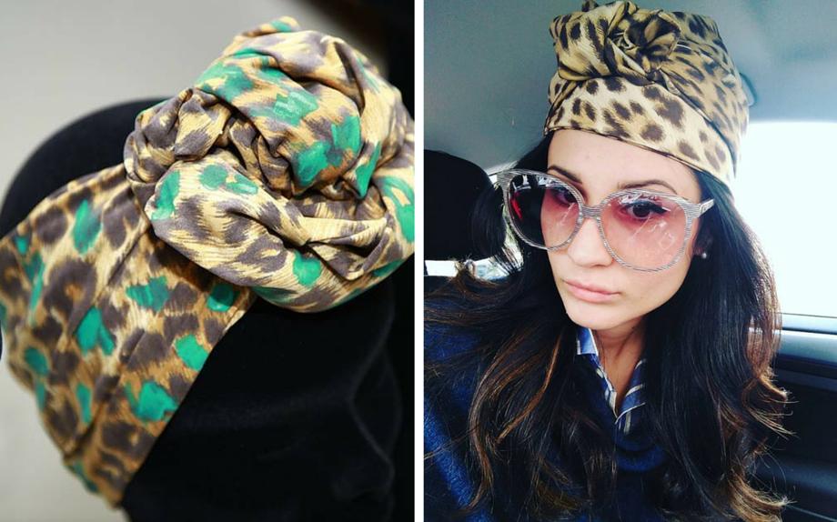 Turbanti by MutaDesign (da Mad Zone), a destra lo indossa la fashion blogger Eleonora della Guardia