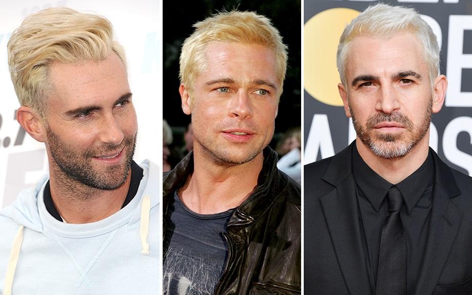 Tingersi i capelli di blu uomo
