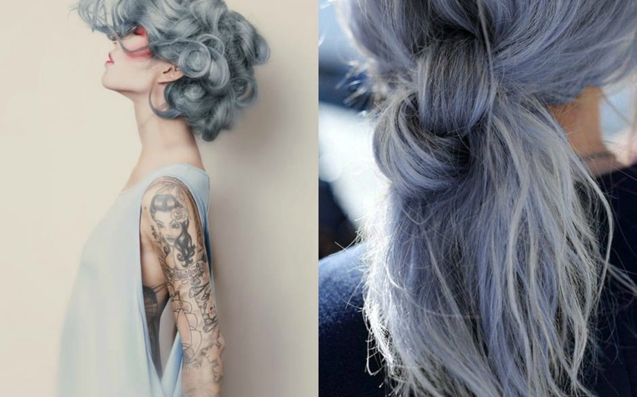 grey blue hair