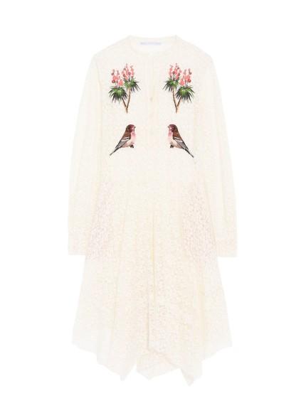 Stella Mc Cartney vestito bianco con applicazioni floreali
