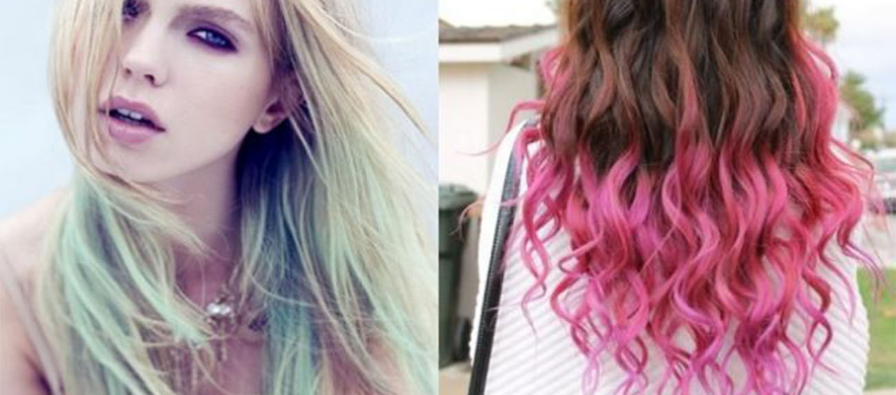 Punte dei capelli colorate