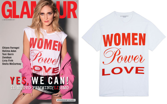 Da oggi è in vendita la T-shirt di Stella McCartney, Women Power Love, indossata da Chiara Ferragni sulla copertina di Glamour Italia