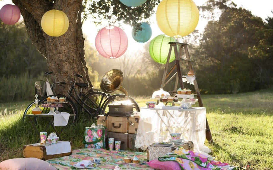 Trees Lovely Meadow Fun Beauty Lace Colors Picnic Beautiful Grass Sweets Retro Harmony Pretty Trunks Nice Table Cakes Pillows Nature Sweet Cool Drinks Gramophone Food Bicycle Photography Ladder Party Background Picture