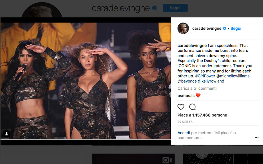 Screenshot Instagram @caradelevingne