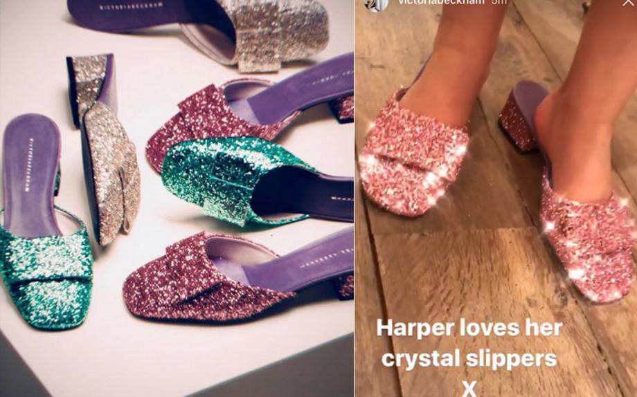 Harper loves her glitter slippers