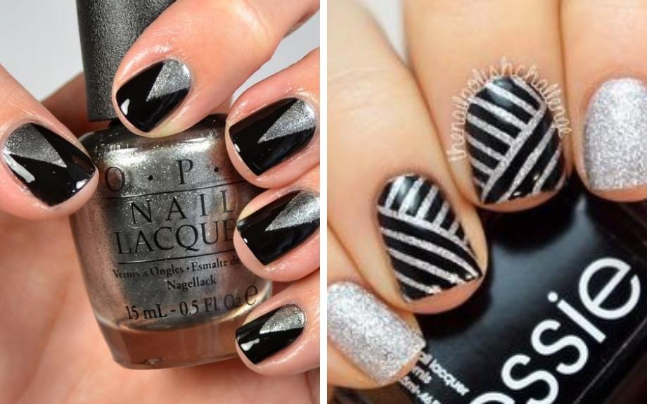 Unghie nere e argento (Pic credit Pinterest)