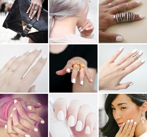 unghie bianco gesso