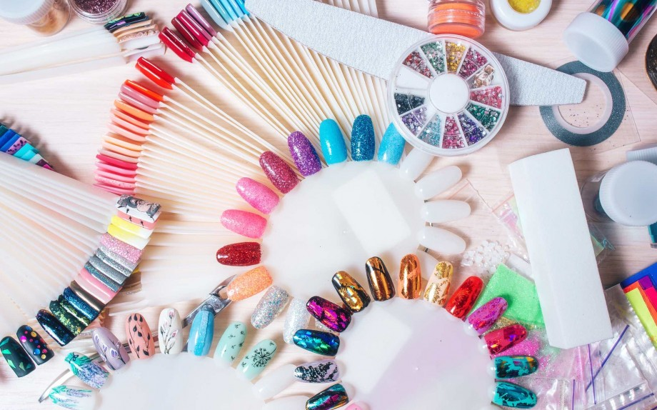 Set of manicure accsessories for nails design