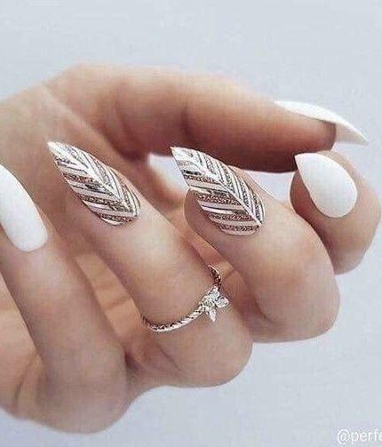 unghie natalizie bianche
